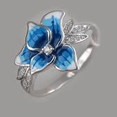 Кольцо Орхидея с голубой эмалью и фианитами, серебро