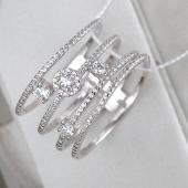 Кольцо широкое из четырех колец с фианитами, серебро