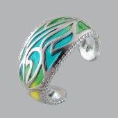 Кольцо Радуга разомкнутое с фианитами и эмалью, серебро