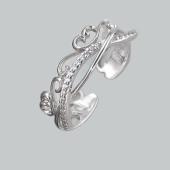 Кольцо ажурное разомкнутое с фианитами из стерлингового серебра