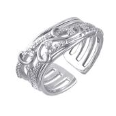 Кольцо открытое ажурное с фианитами, серебро