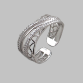 Кольцо разомкнутое с россыпью фианитов, серебро