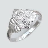 Кольцо Спаси и Сохрани с крестом и фианитами, серебро
