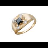 Мужское кольцо с квадратным черным фианитом и прозрачными фианитами, красное золото