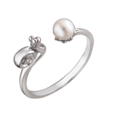 Кольцо Улитка и Жемчуг разомкнутое, серебро