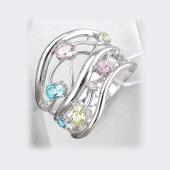Кольцо Фея с розовыми, голубыми и зелеными фианитами, серебро
