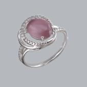 Кольцо с винным кошачьим глазом и фианитами из серебро