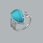 Кольцо Капля с голубым кошачьим глазом из серебра