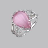 Кольцо с розовым кошачьим глазом и фианитами из серебро