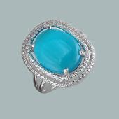 Кольцо с голубым кошачьим глазом и фианитами из серебро