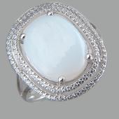 Кольцо с лунным камнем и фианитами, серебро