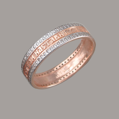 Кольцо с молитвой Настави нас на стезю заповедей Твоих, серебро с позолотой и фианитами 7мм