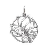 Подвеска круглая Бабочка с фианитами, серебро