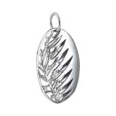 Кулон овальный с ажурным узором Ветка и фианитами, серебро