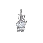 Подвеска Кролик с бантиком и фианитами, серебро
