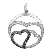 Подвеска Сердце в круге с белыми и прозрачными фианитами, серебро