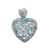 Подвеска Сердце с прозрачными и голубыми фианитами, серебро