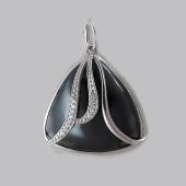 Подвеска с треугольным ониксом и фианитами, серебро