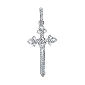Крест в виде меча с фианитами, серебро
