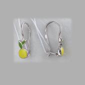Серьги Лимон с желтой и зеленой эмалью, серебро