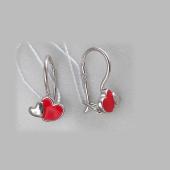 Серьги Два Сердца с красной эмалью, серебро
