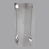 Серьги длинные на цепочке Капля  с фианитом, серебро
