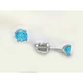 Серьги с голубым круглым фианитом, серебро