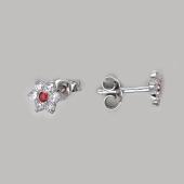 Серьги пусеты детские Цветок с красным и прозрачными фианитами, серебро