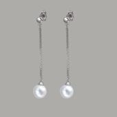 Серьги длинные с жемчугом и цепочками из серебра