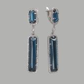 Серьги длинные с темно-синим кошачьим глазом из серебра