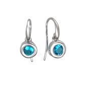 Серьги с голубым фианитом, серебро