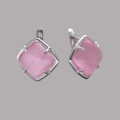 Серьги с розовым кошачьим глазом из серебра