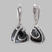 Серьги с ониксом и фианитом, серебро