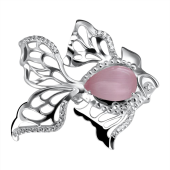 Брошь Рыбка с розовым кошачьим глазом и фианитами из серебра 925 пробы