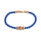 Браслет синий текстильный шнурок с серебряными подвесками, серебро с золотым покрытием