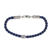 Браслет текстильный синий шнурок Купола с серебряным замком