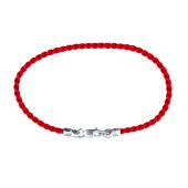 Браслет красная крученая нить с серебряным замком