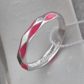 Кольцо Арлекино с розовой эмалью, серебро