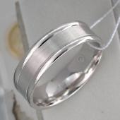 Кольцо обручальное с матированием, серебро