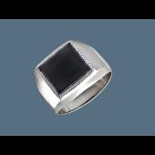 Кольцо мужское с квадратным ониксом, серебро