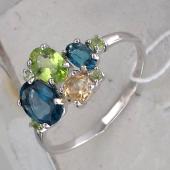Кольцо с хризолитами, цитрином и топазом Лондон из серебра