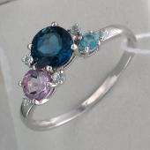 Кольцо с топазом Лондон, Топазом Swiss, аметистом и фианитами, серебро