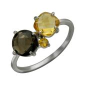 Кольцо с раухтопазом и цитринами огранки круг и подушка, серебро