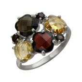 Кольцо с раухтопазами, цитрином и гранатом, серебро