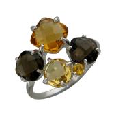 Кольцо с раухтопазом и цитрином, серебро