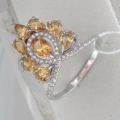 Кольцо Корона с фианитами и цитринами, серебро