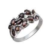 Кольцо с раухтопазами и фианитами, серебро