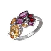 Кольцо с гранатами, родолитами и цитринами, серебро