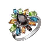 Кольцо Самоцвет с раухтопазом, хризолитом, цитрином и топазом Лондон, серебро