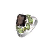 Кольцо с раухтопазом и султанитами, серебро